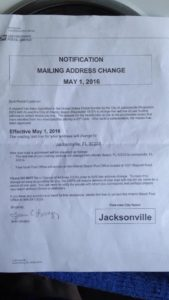 Letter from USPS notifying residents of mailing address change. (Source: Facebook)